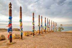 Endroit de buryat de Sacread sur l'île d'Olkhon, le lac Baïkal, Russie photographie stock libre de droits