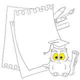 Endroit pour le texte - cadres sur l'illustration de fond de hibou d'école Photos stock