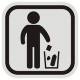 Endroit pour les déchets, le chiffre noir et la poubelle Photographie stock