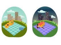 Endroit pour une famille et un pique-nique romantique en parc, étendre une couverture, un panier de nourriture, vacances d'été, p Illustration Stock