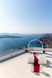 Endroit romantique pour la cérémonie de mariage en île de Santorini, Crète, Grèce Photographie stock