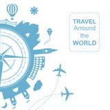 Endroits de Famouse Arround de voyage l'illustration de vecteur du monde Voyageant en avion, voyage d'avion dans le divers pays illustration de vecteur