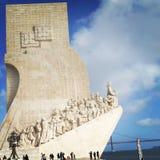 Endroits de voyage en mer de ciel bleu de colombus de l'Amérique de découverte de lisbonne du Portugal beaux Photographie stock libre de droits