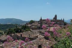 Endroits italiens en toits et monument de printemps antiques Photo stock