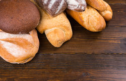 Ends of bread loaves on table Royalty Free Stock Images