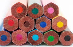 The ends of color pencils. Close up Stock Image
