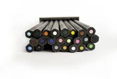The ends of color pencils Stock Images