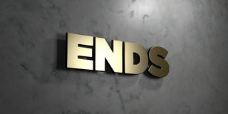 Ends - Gold sign mounted on glossy marble wall  - 3D rendered royalty free stock illustration Royalty Free Stock Photos