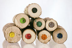 Ends of large natural coloured pencils Royalty Free Stock Photos