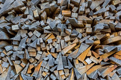The ends planks stacked on the open air. Background of the ends planks stacked on the open air Royalty Free Stock Image