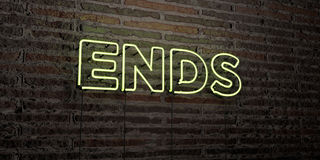 ENDS -Realistic Neon Sign on Brick Wall background - 3D rendered royalty free stock image Royalty Free Stock Image