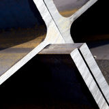 Ends of steel girders. Details of the ends of thick, steel girders or beams Stock Photo