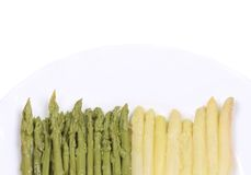 Ends of white and green asparagus. Royalty Free Stock Images