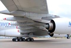 Endstück und Flügel Airbusses A380 an MAKS-2013 Lizenzfreies Stockfoto