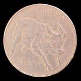 Endstück von einer piso Münze, herausgegeben durch Philippinen, die im Jahre 1985 einen tamaraw zwergartigen Büffel darstellen Stockbild