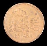 Endstück von 500 Peseten prägen, herausgegeben durch Spanien im Jahre 1989 Lizenzfreies Stockbild
