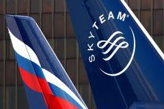 Endstücke Aeroflots Airbus A330 an internationalem Flughafen Sheremetyevo Stockbild