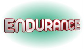 Endurance illustrated. Text 'endurance' in silvery white uppercase 3D letters  seen against a pastel green artistic background fading to white Royalty Free Stock Photos