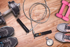 Endurance training on jump-rope. Stock Photos