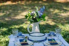 Endureça com o creme azul para homens, decorado com amora-preta e mirtilo Fotos de Stock Royalty Free