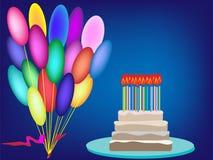 Endureça os balões de creme do aniversário do fundo do vetor das velas do aniversário Foto de Stock