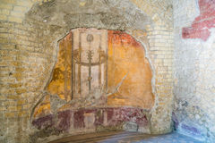 The Enduring Artwork and Design of Herculaneum. Beautiful frescos adorn the homes of the wealthy Stock Photos