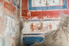 The Enduring Artwork and Design of Herculaneum. Beautiful frescos adorn the homes of the wealthy Royalty Free Stock Photography