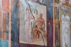 The Enduring Artwork and Design of Herculaneum. Beautiful frescos adorn the homes of the wealthy Stock Image
