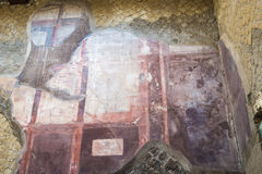 The Enduring Artwork and Design of Herculaneum. Beautiful frescos adorn the walls of the homes of the wealthy Royalty Free Stock Images