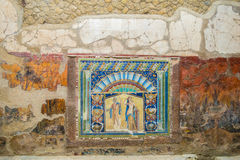 The Enduring Artwork and Design of Herculaneum. Beautiful mosaics adorn the walls of the wealthy Stock Photo