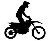 Enduro athlete on bike. Rides motocross black silhouette Royalty Free Stock Images
