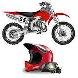 Enduro bike. Motocross bike silhouette with helmet isolated on white. Vector illustration Stock Photo