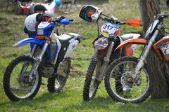 Enduro bikes before competition Stock Image