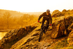 Enduro Cyclist Riding the Mountain Bike Down Beautiful Rocky Trail. Extreme Sport Concept. Space for Text. Royalty Free Stock Photography