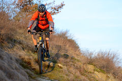Enduro Cyclist Riding the Mountain Bike on the Rocky Trail. Extreme Sport Concept. Space for Text. Royalty Free Stock Photography