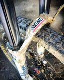 Enduro ending. Bike mud weel Stock Image