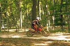 Enduro Mitfahrer im Wald Lizenzfreies Stockbild