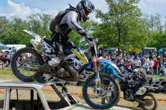 Enduro moto cross rider on a track Royalty Free Stock Photo