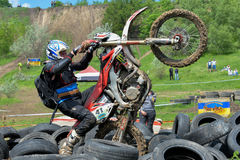Enduro moto cross rider on a track Royalty Free Stock Photos