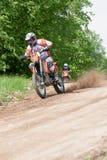 Enduro motorbike riding down the hill, Madona, Latvia, May 26, 2 Stock Photo