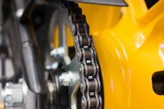 Enduro motorbike wheel and chain Stock Image