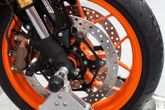 Enduro motorbike wheel and chain Royalty Free Stock Images