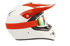 Enduro motorcycle helmet with goggles Stock Photos