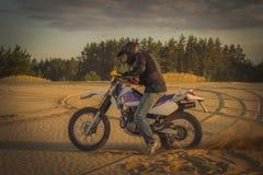 Enduro motorcycle racing . Royalty Free Stock Photography