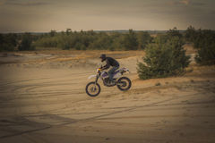 Enduro motorcycle racing . Stock Photos