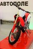 Enduro motorcycle on red podium Stock Photo