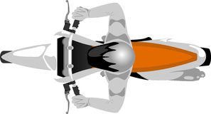 Enduro motorcycle with rider top view. Sport cross motorcycle with biker top view Stock Image