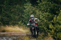 Enduro racer on the track Royalty Free Stock Photos