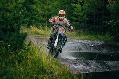 Enduro racer on the track Royalty Free Stock Images