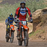 Enduro racing. Two motor bikers race in Maluti mountains. The Lesotho Enduro and the Roof of Africa off road racing season begins in June Stock Photography